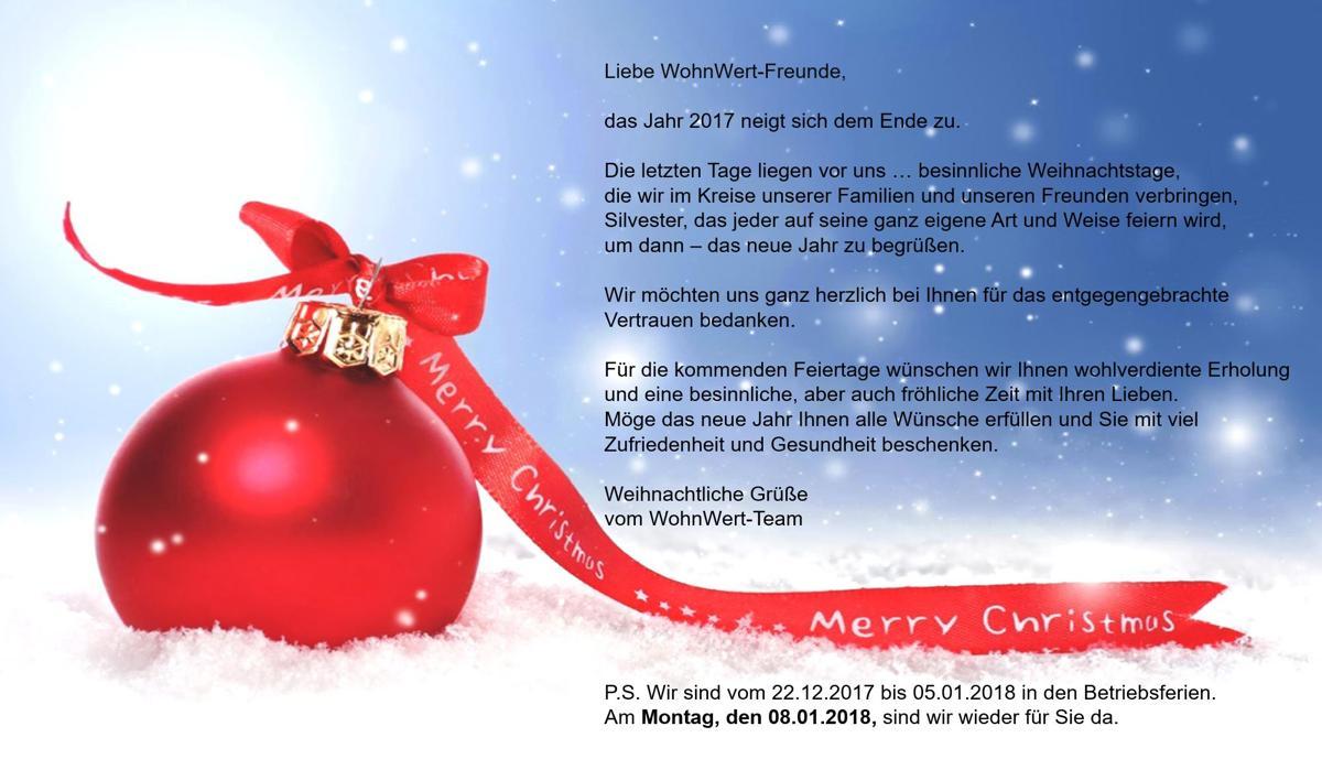 Das WohnWert-Team wünscht Ihnen schöne Weihnachten und alles Gute ...